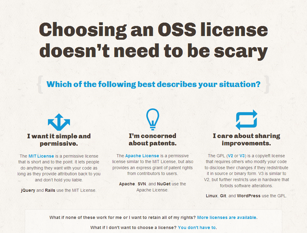 Choosing an OSS license doesn't need to be scary - ChooseALicense.com_1376645531572