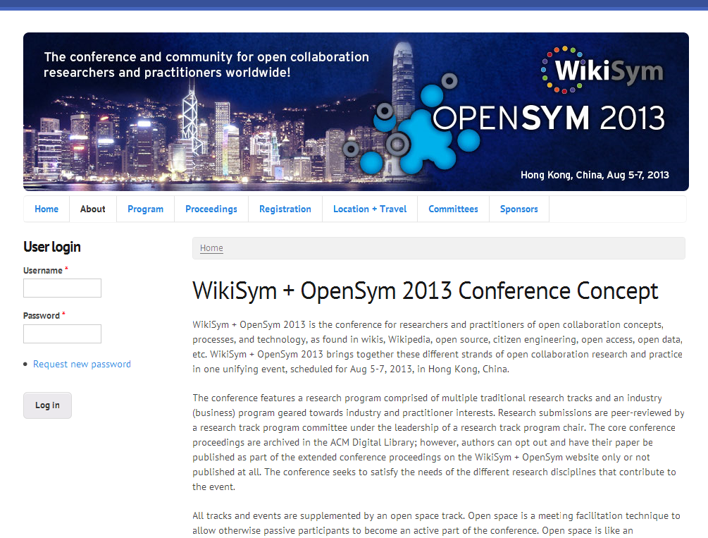 WikiSym + OpenSym 2013 Conference Concept - WikiSym + OpenSym 2013_1376645496270