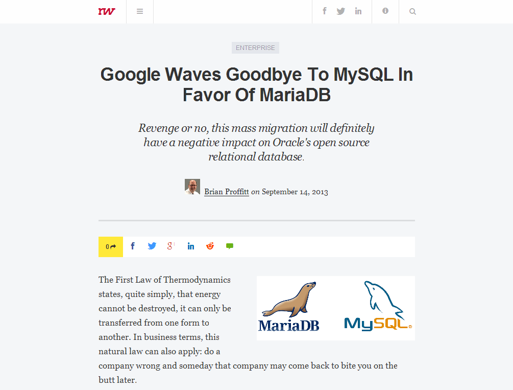 Google Waves Goodbye To MySQL In Favor Of MariaDB – ReadWrite_1379319862922