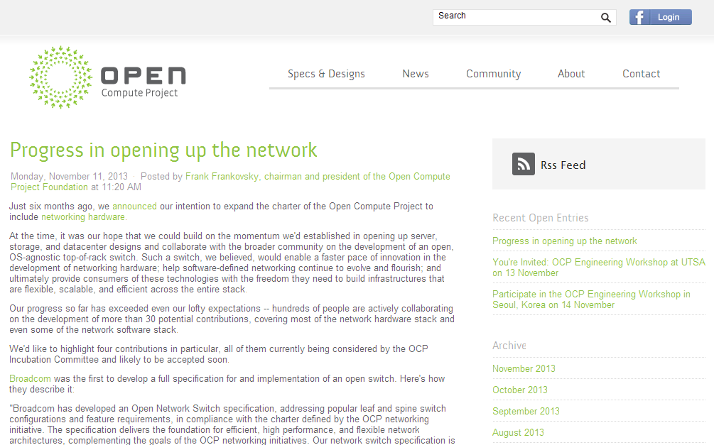 Progress in opening up the network » Open Compute Project_1384920233673