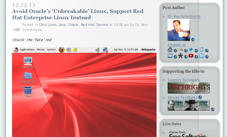 Avoid Oracle's 'Unbreakable' Linux, Support Red Hat Enterprise Linux Instead - Techrights_1389260988548