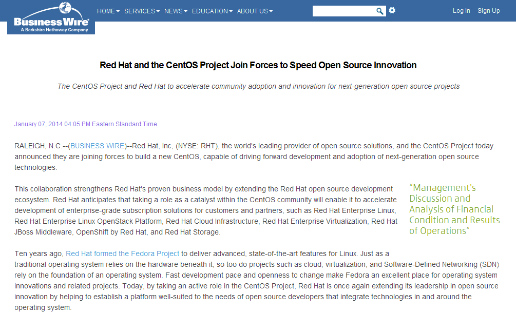 Red Hat and the CentOS Project Join Forces to Speed Open Source Innovation - Business Wire_1390809548125