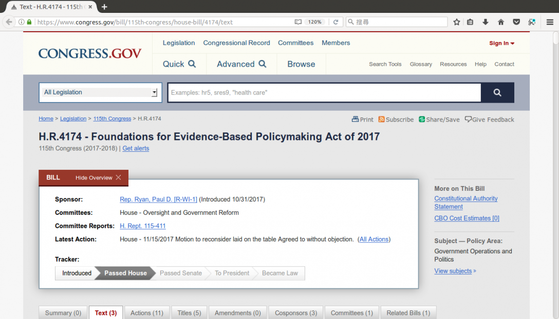 Text - H.R.4174 - 115th Congress (2017-2018): Foundations for Evidence-Based Policymaking Act of 2017 | Congress.gov | Library of Congress - Mozilla Firefox_184